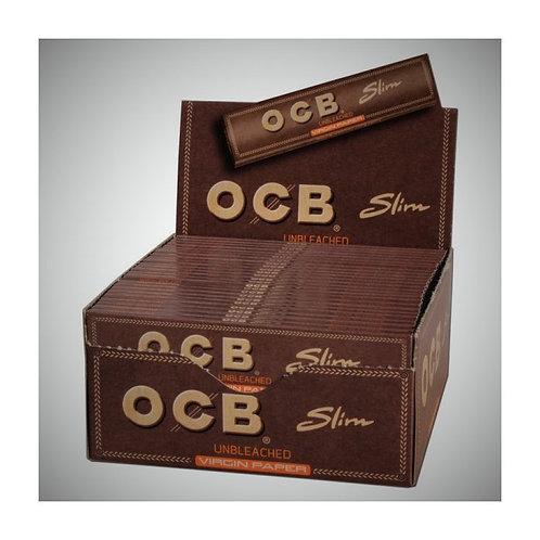 OCB Slim Unbleached Virgin Smoking Paper Box 50x