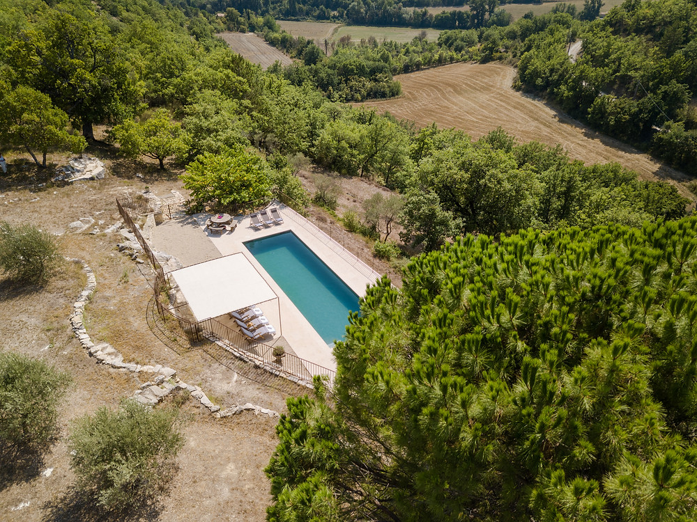 Luxury villa in Luberon, Provence, France with outdoor pool and mountain views