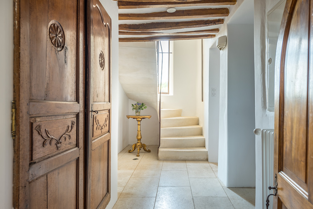 Stunning spiral staircase within original 14th century luxury bastide in Luberon, Provence, South of France