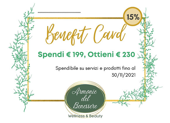 Scegli il tuo benefit +15% +20%+25%