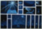 huile sur toile, bleu, bd, rêve, envol, bateau, nuit