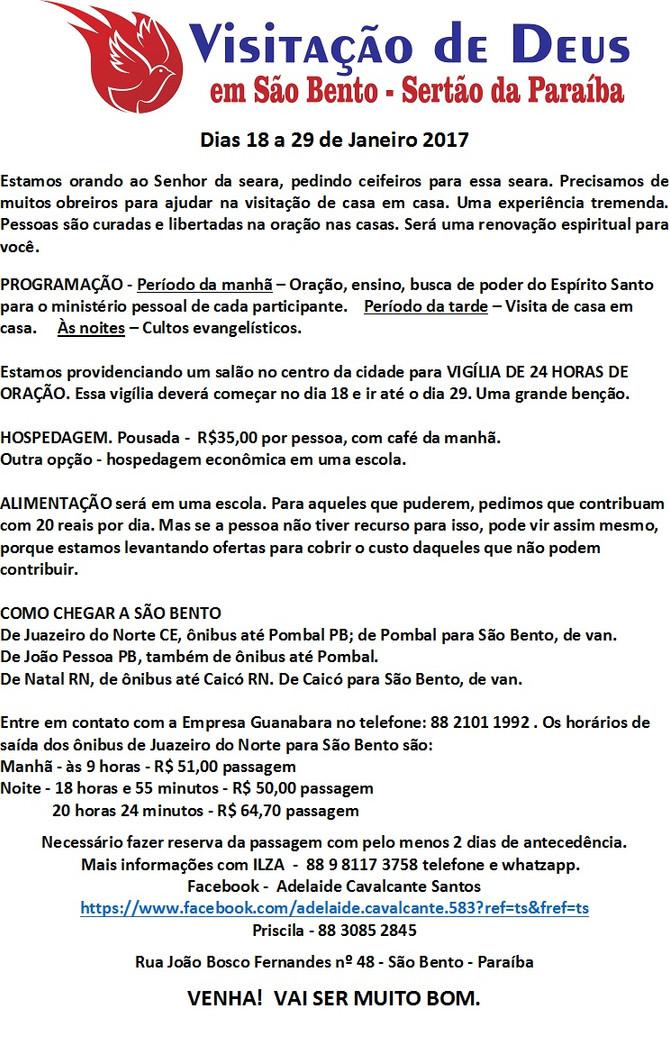 VISITAÇÃO DE DEUS EM SÃO BENTO- PB