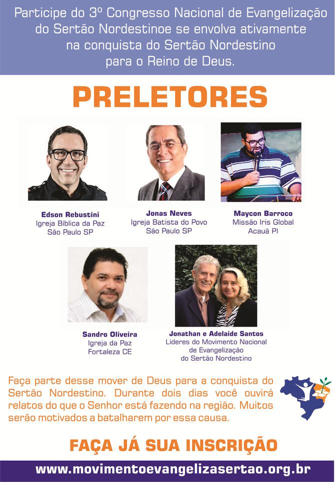PRELETORES DO 3º CONGRESSO NACIONAL DE EVANGELIZAÇÃO DO SERTÃO NORDESTINO