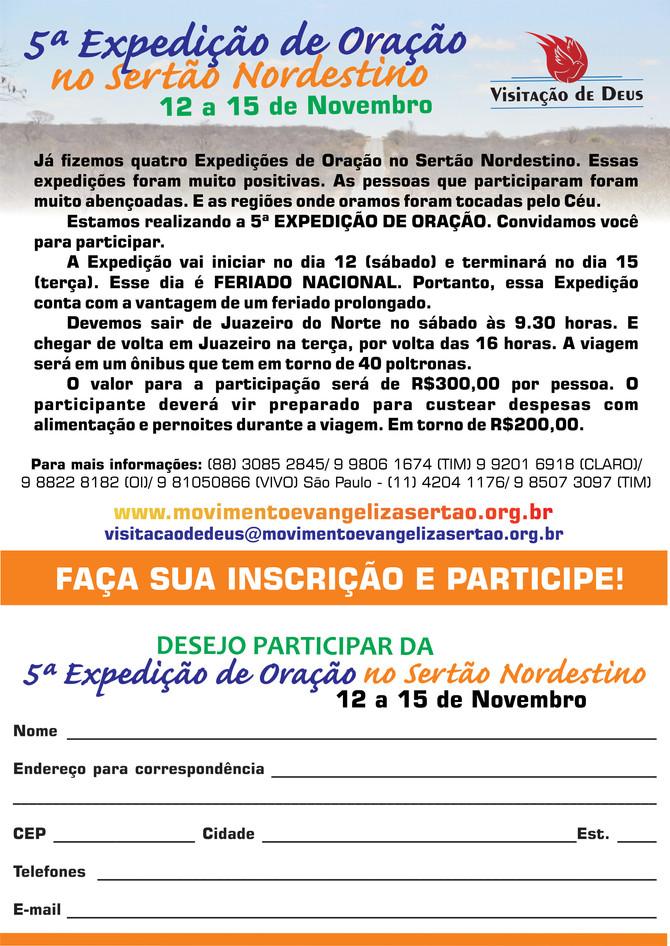 5ª EXPEDIÇÃO DE ORAÇÃO