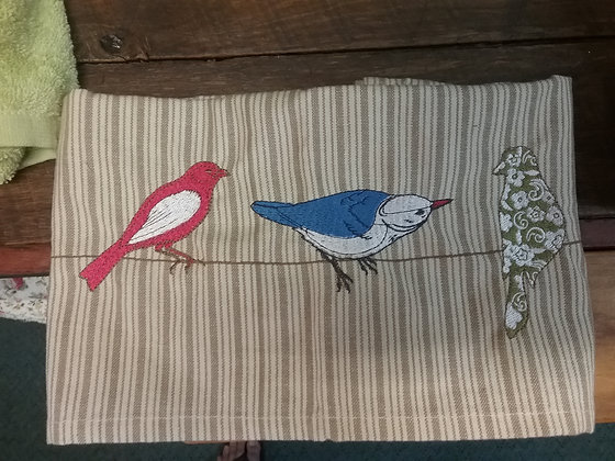Embroidered Bird Tea Towel - Fawn Stripes