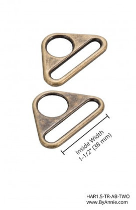 """1.5"""" Antique Brass Triangle Ring"""