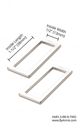 """1.5"""" Nickle -  Rectangle Rings Flat"""