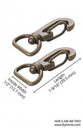 """1/2"""" Antique Brass -  Swivel  Hook"""