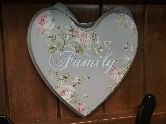 Timber Hanging Heart - Family