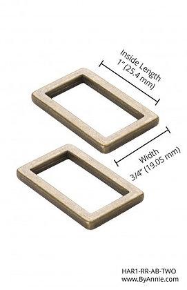 """1"""" Antique Brass Rectangle Rings Flat"""