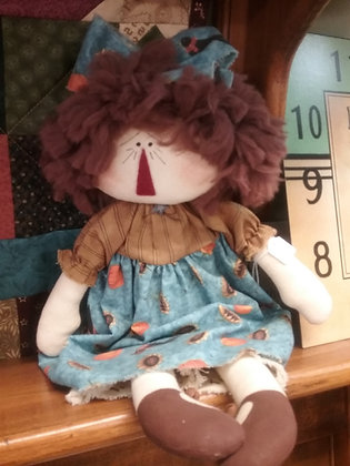 "Handmade Raggy Doll - 15"" tall"