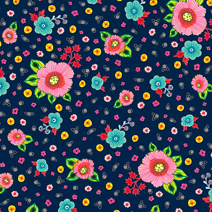Evelyn -Spaced  Floral - Navy
