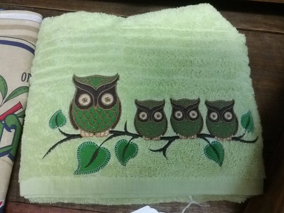 Embroidered Owl Towel - apple Green