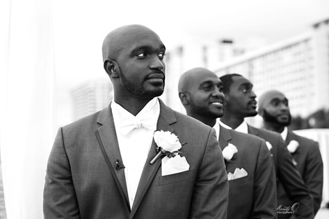 miami wedding groom waits for bride phot