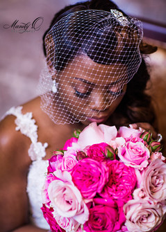 nigerian wedding bride headshot bouquet