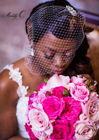 nigerian wedding bride headshot bouquet