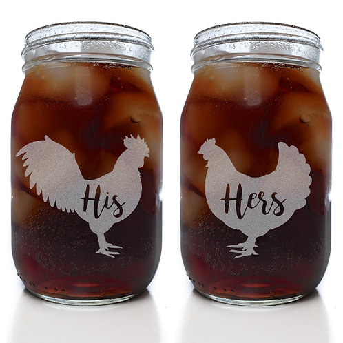 His and Hers Country Chicken Mason Jar Set