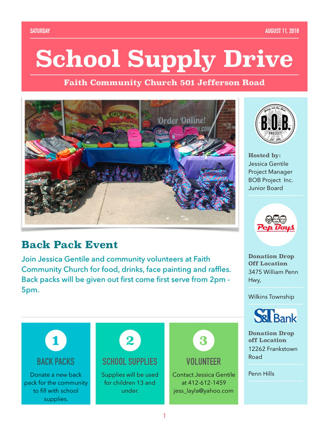 Back Pack / School Supply Drive