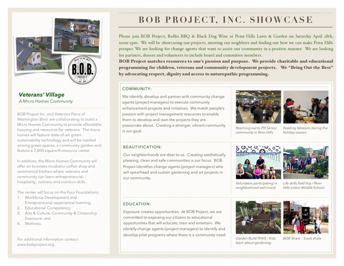 Join us as we showcase our BOB Project community efforts.