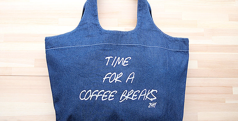 TOTE BAG LIGHT BLUE DENIM (TIME FOR A COFFEE BREAKS 24H)