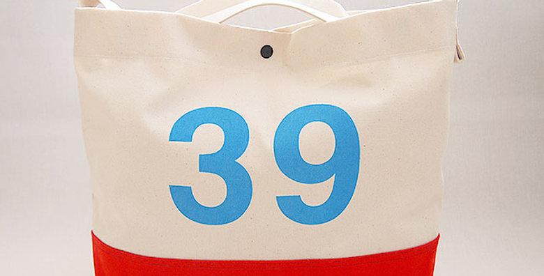 2WAY SHOULDER CANVAS BAG(OFF WHITE/RED /  LOGO LIGHT BLUE)