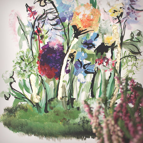 'Floral Frenzy' hand embellished and mounted statement print