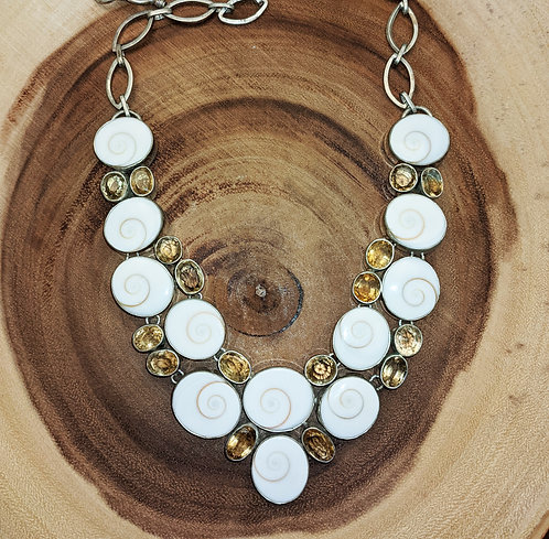 Citrine Shell Silver Collar