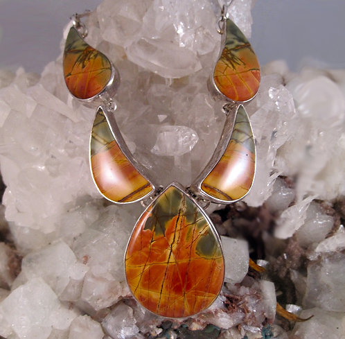 Orange Jasper Silver Collar/Earrings Collection