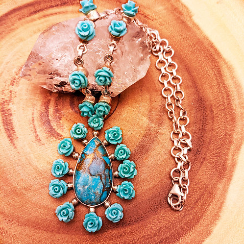 Turquoise & Rose Silver Pendant