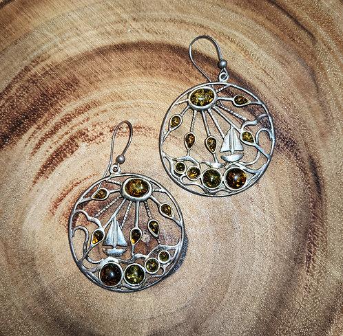 Sea Amber Silver Earrings