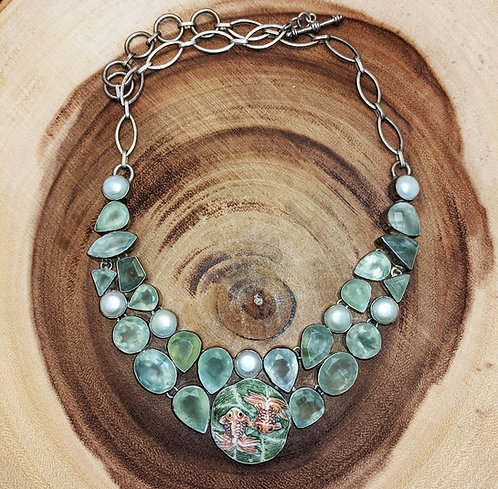 Prehnite  Pearl Carved Koi Silver Collar