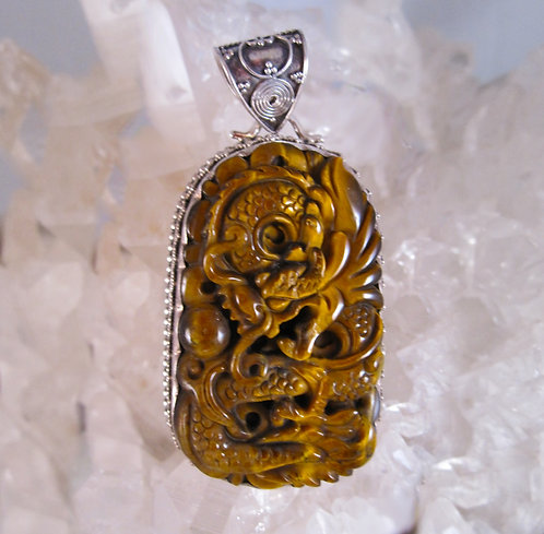 Tiger's Eye Carved Dragon Silver Pendant