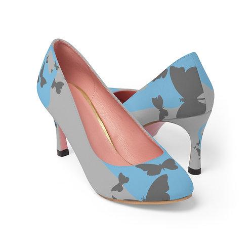 Kettlebell powder blue butterfly Women's High Heels - grey