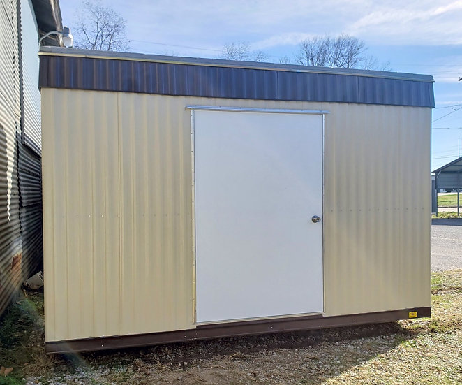 "8'x12'x8'-Deluxe-48"" Door, No Windows (Tan with Brown Trim)"