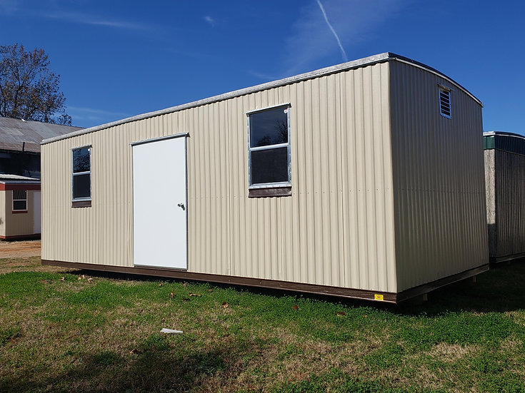 "10'x24'x7'- JOE (no top trim)-48"" Door and 2-Windows, Vents (Tan and Brown Trim)"