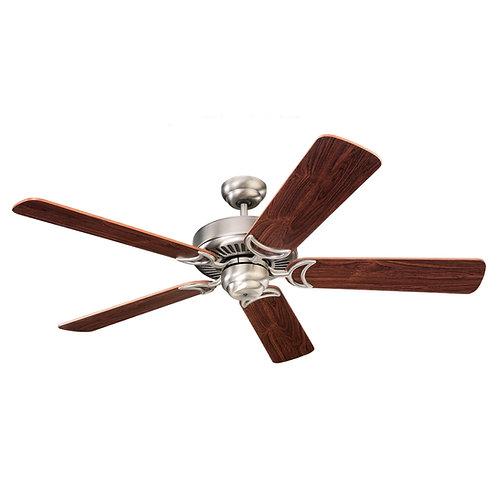 "52"" Brushed Nickel/Teak Ceiling Fan"
