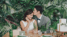 A timeless indoor shoot with a touch of greenery