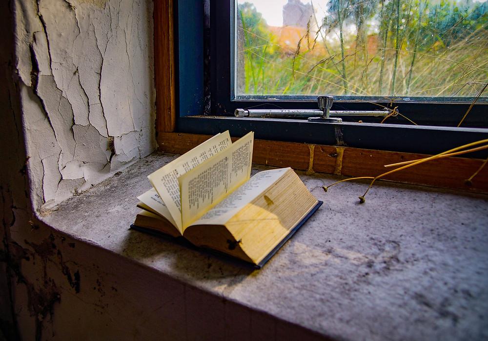 En efterladt højskolesangbog i kælderen på det nedlagte sygehus i Bogense. Sygehuset lukkede i 2002 og stod i mange år som et forsømt  spøgelseshus i den lille nordfynske købstad. I 2017 blev sygehuset revet ned for at gøre plads til boliger.