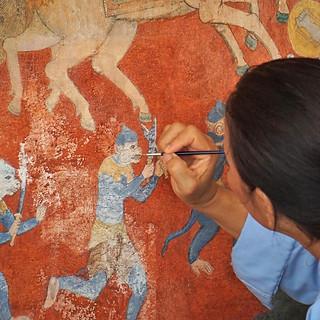 Restauration von Wandgemälden im Royal Palace in Phnom Penh
