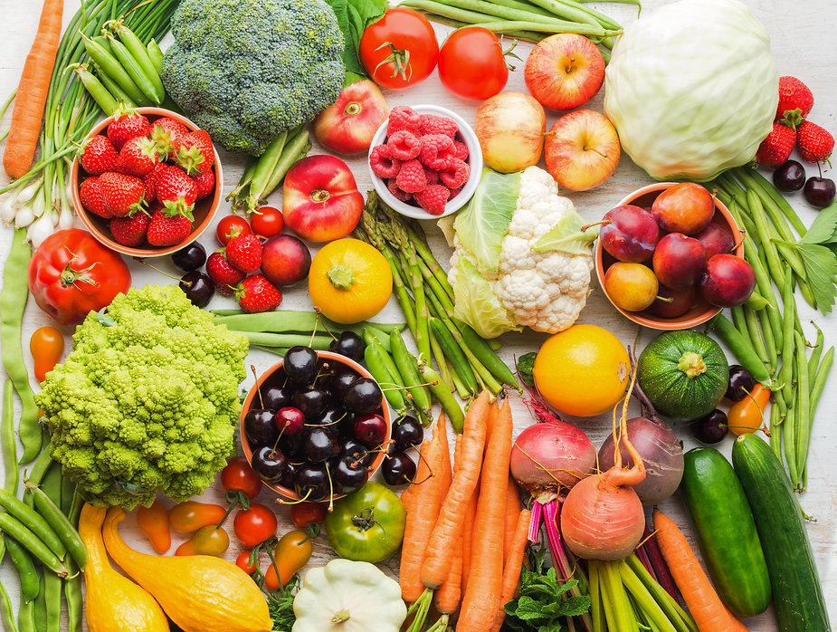 Summer fruits vegetables berries backgro