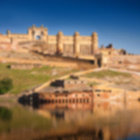 Amber Fort illuminated by warm light of