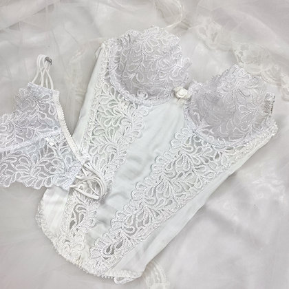 Angelic white lace bustier & thong set