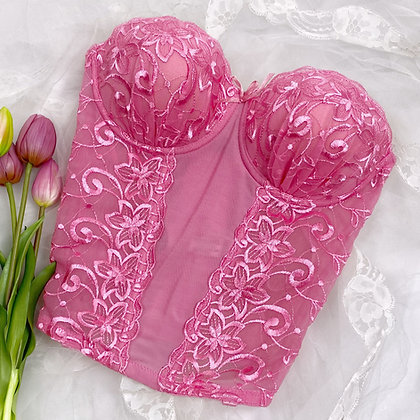Dreamy pink embroidered bustier
