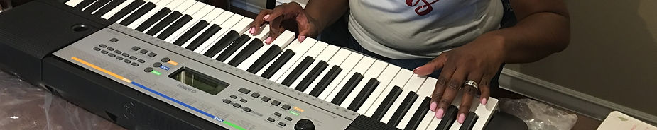 piano student practicing chords