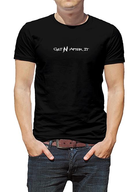 Men's Black T-shirt, Pearlized White logo