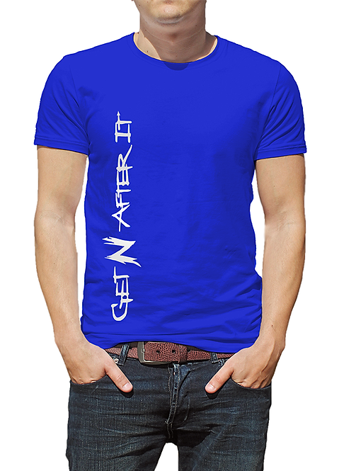 Men's Blue T-shirt, Pearlized White logo