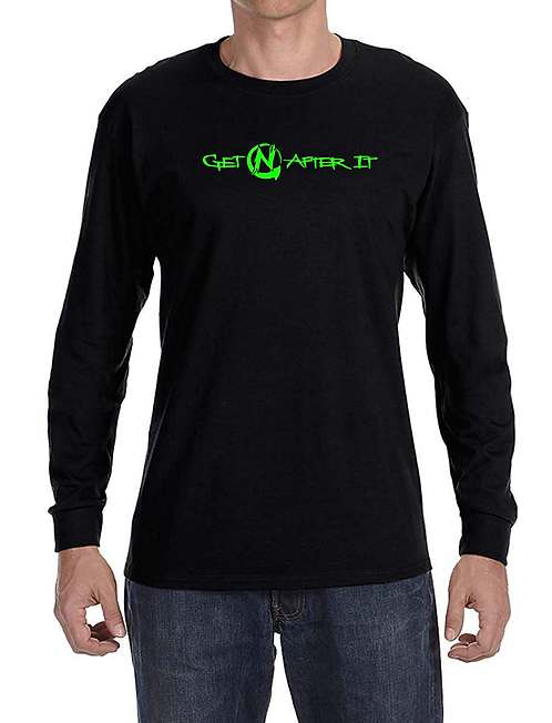 Men's Black Long-sleeved Shirt, Green logo