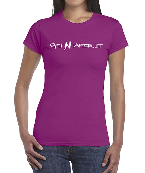 Women's Berry T-shirt, Pearlized White logo