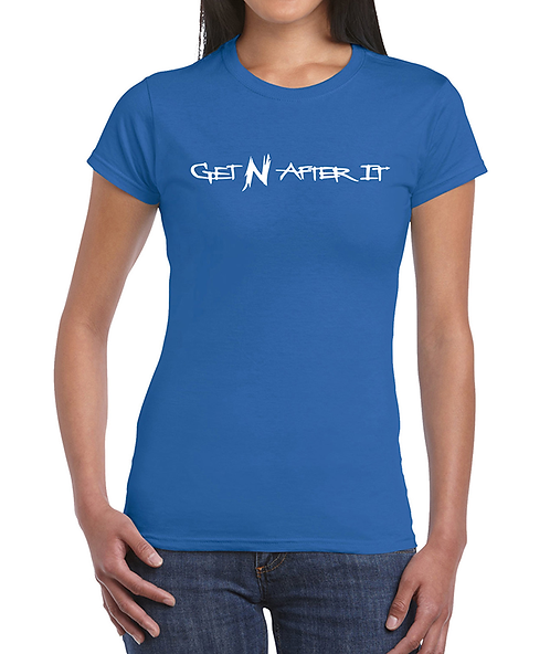 Women's Blue T-shirt, Pearlized White logo