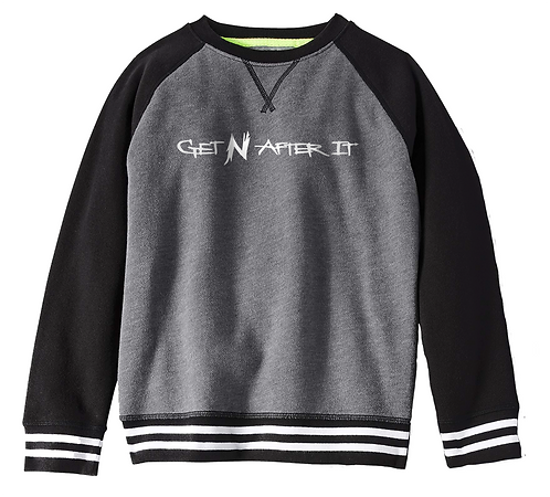 Boys' Charcoal Sweater, Pearlized White logo